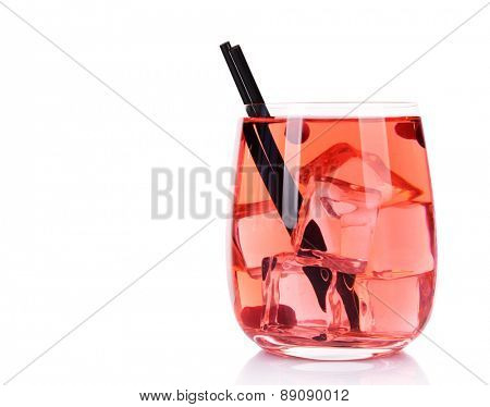 Glass of compote with red currant isolated on white