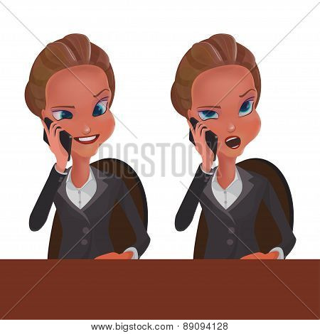 2 girls talking on the phone one with a smile the other with a negative working at the table on a wh