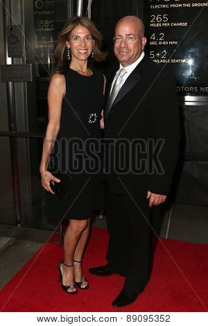 NEW YORK-APR 21: President of CNN Worldwide Jeff Zucker (R) and wife Caryn Zucker attend the 2015 Time 100 Gala at Frederick P. Rose Hall, Jazz at Lincoln Center on April 21, 2015 in New York City.