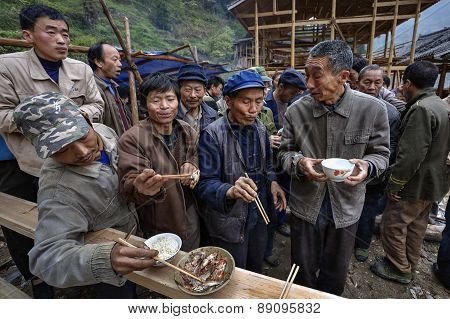 Eating Together At Village Celebration, Celebrating Start Of Construction, China.