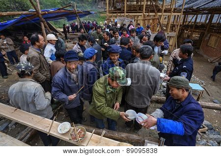 Rural Festivities, Villagers Drink Alcohol And Take Their Food Together.