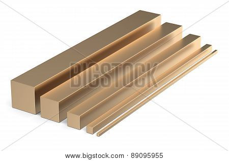 Set Of Bronze Square Rods