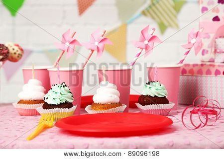 Prepared birthday table for children party
