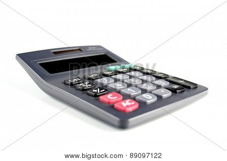 Calculator on white bacground - close-up