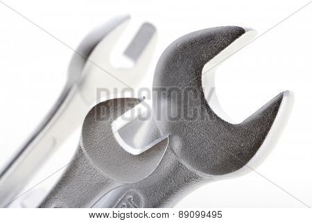 Wrenches on white background - close-up