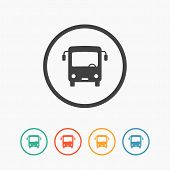 pic of bus driver  - Minimalistic simple flat bus icon with color variations - JPG