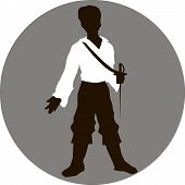picture of rapier  - Illustration silhouette prince with sword in hand - JPG