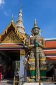 picture of emerald  - Giant statues in Temple of the Emerald Buddha or Grand palace - JPG