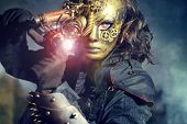 picture of post-apocalypse  - Steampunk man wearing mask with various mechanical devices - JPG