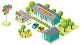 picture of motel  - Vector isometric motel building icon - JPG