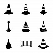 foto of cone  - Vector traffic cone icons set on white background - JPG