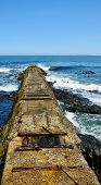 picture of breaker  - Seascape with old wave breaker at Seapoint in Cape Town - JPG