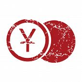 stock photo of yen  - Red grunge yen coin logo on a white background - JPG