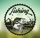 stock photo of trout fishing  - Vintage trout fishing emblems labels and design elements - JPG