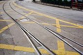 picture of banquette  - Closeup street railway with yellow street mark on floor background - JPG