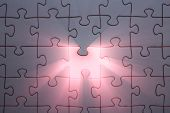 stock photo of jigsaw  - The missing part of the jigsaw Jigsaw and puzzles concepts - JPG