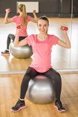 pic of pregnancy exercises  - Young pregnant woman doing exercise using a fitness ball and dumbbells - JPG