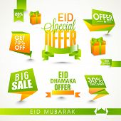 stock photo of eid festival celebration  - Shiny Sale tags or ribbons on occasion of Islamic festival - JPG
