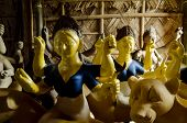 stock photo of lakshmi  - idols of Hindu goddess kept together for selling during festival - JPG