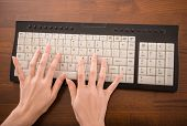 pic of peripherals  - Top view of hands typing on laptop keyboard in the office - JPG
