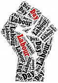 foto of labourers  - Word cloud illustration related to Labour Day celebrated on May 1st - JPG