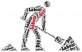 image of labourers  - Word cloud illustration related to Labour Day celebrated on May 1st - JPG