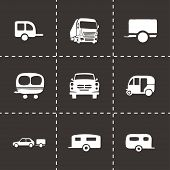 picture of trailer park  - Vector trailer icon set on black background - JPG