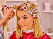 image of hair curlers  - Happy woman wear hair curlers on head in barbershop - JPG