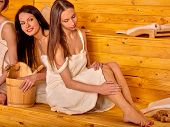 picture of sauna woman  - Group people relaxing in sauna - JPG