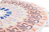 foto of fifties  - Fifty euro banknote fan isolated on white background - JPG