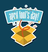 picture of fool  - april fools day over blue  background vector illustration - JPG