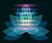 stock photo of mantra  - Yoga meditation woman lotus silhouette - JPG
