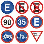 pic of traffic rules  - Collection of Argentinian regulatory traffic signs including car park parking restriction minimum and maximum speed motorcycle and bicycle path and give way signs - JPG