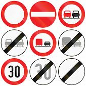 foto of traffic rules  - Collection of Austrian traffic signs about passing restriction speed limit and entry - JPG