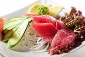 picture of cucumber slice  - Tuna Sashimi  - JPG