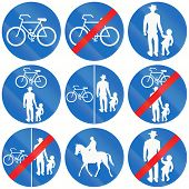 stock photo of bike path  - Collection of Austrian traffic signs for bike path pedestrian lane and bridleway - JPG