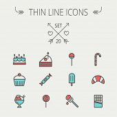 foto of popsicle  - Food and drink thin line icon set for web and mobile - JPG