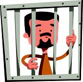 picture of jail  - Man in jail holding bars vector illustration cartoon character - JPG
