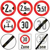 pic of traffic rules  - Collection of Austrian traffic signs defining size weight and speed limits - JPG