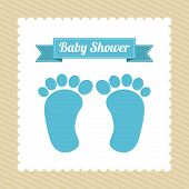 picture of baby feet  - Baby shower card with baby foot prints - JPG
