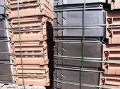 picture of pallet  - ceramic tiles container lying on the pallet as a background - JPG