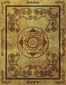 stock photo of wiccan  - Illustration of a magical symbol design on parchment paper background in a vertical aspect ratio - JPG