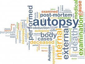 stock photo of autopsy  - Background text pattern concept wordcloud illustration of autopsy examination - JPG
