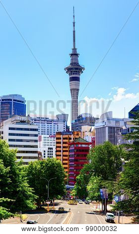 The Sky Tower (328m.) is an observation and telecommunications tower. Auckland, New Zealand.