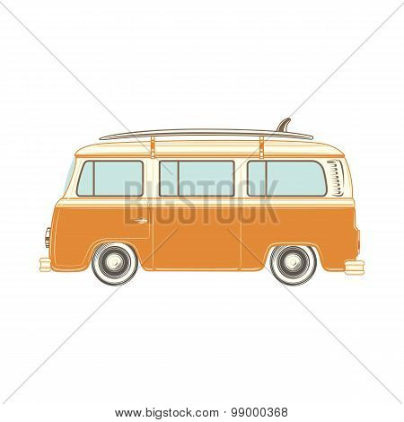 Camper van with surf board.