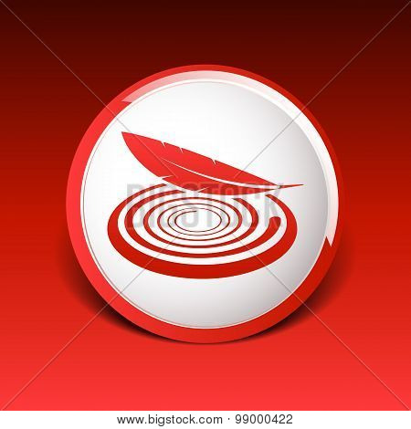 icon vector fabric button isolated soft white symbol