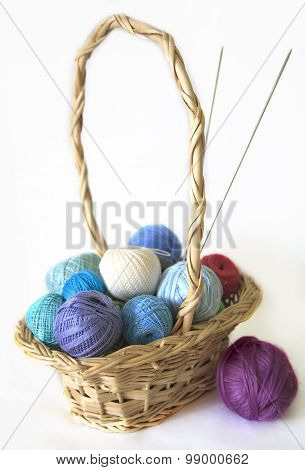 Colored thread for knitting are in basket