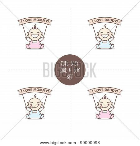 Vector babies with I love Mommy and Daddy ribbons. Baby shower set.
