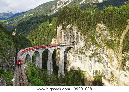 Landwasser Viaduct With Train, Filisur, Switzerland