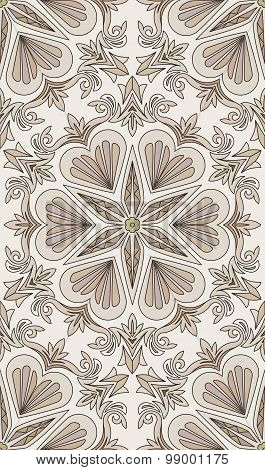 Seamless Abstract Tribal Pattern. Hand Drawn Ethnic Texture, Vector Illustration In Light Brown And